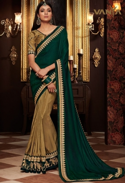 beige and pine green saree with silk blouse 1701