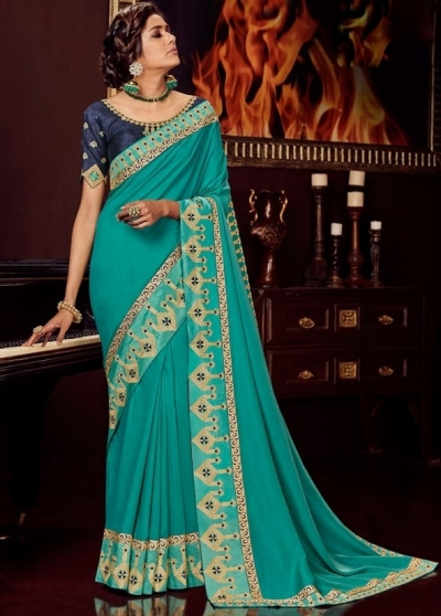 teal green silk saree with embroidered blouse 10419
