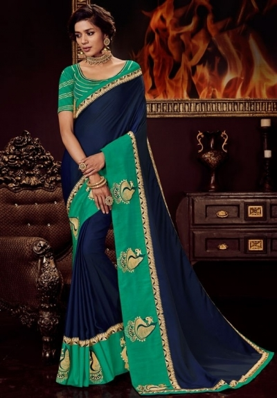 navy blue satin saree with embroidered blouse 10418