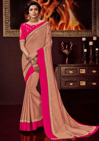 dusty peach silk saree with embroidered blouse 10417