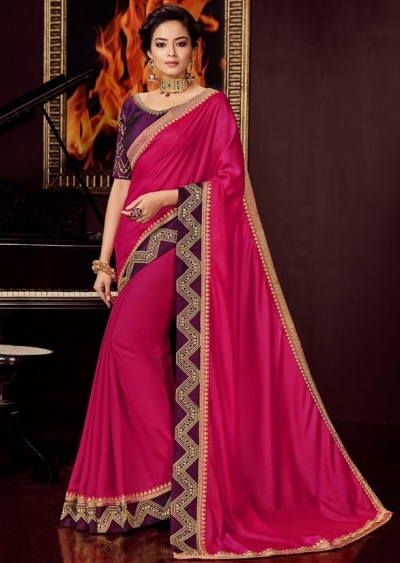 rani pink silk saree with embroidered blouse 10415