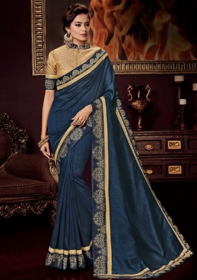 midnight blue silk saree with embroidered blouse 10414