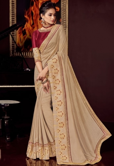 beige silk saree with embroidered blouse 10411