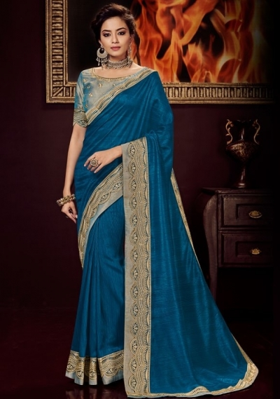 peacock blue silk saree with embroidered blouse 10410