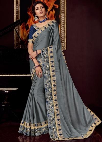 smoke grey satin saree with embroidered blouse 10407