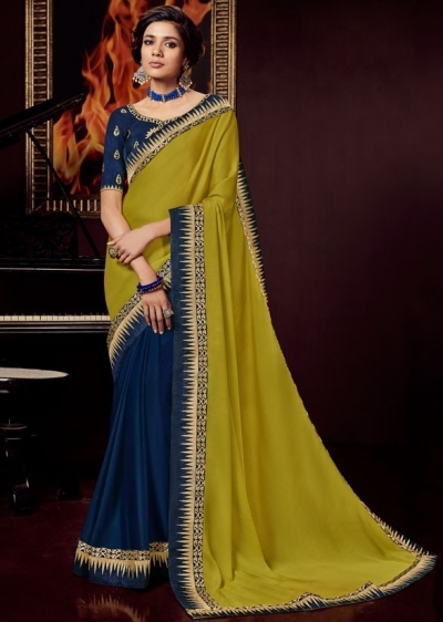 indigo blue and lime yellow saree with embroidered blouse 10405