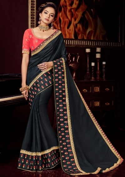black silk saree with embroidered blouse 10402