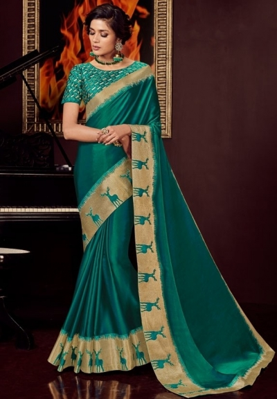 pine green silk saree with embroidered blouse 10401