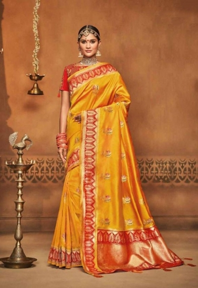 golden yellow silk jacquard saree 990