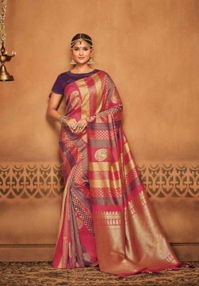 multicolor silk jacquard saree 989