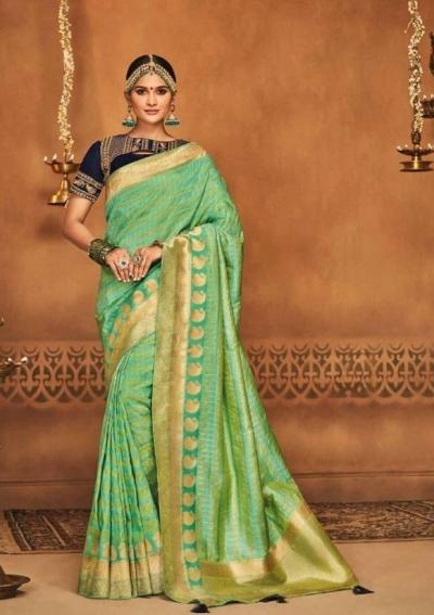 mint green silk jacquard saree 985b