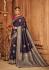midnight blue silk jacquard saree 984a