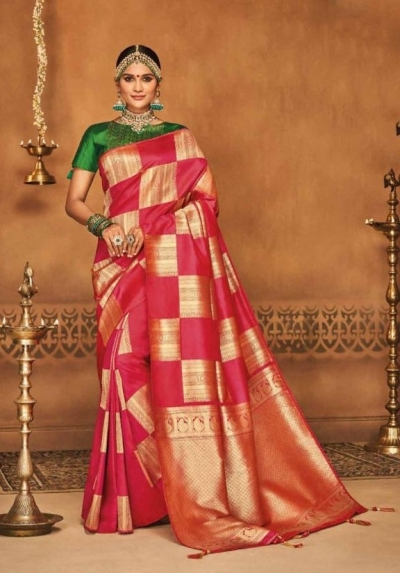 gajari and golden silk jacquard saree 982