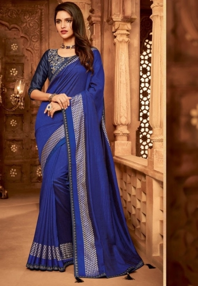royal blue designer silk saree 2316