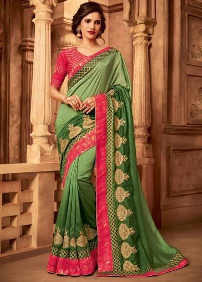 olive green designer silk saree 2315