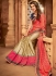 beige and salmon pink designer silk saree 2314