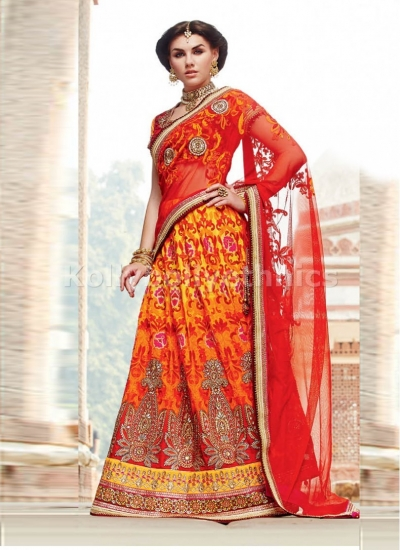 Orange and red net tussar silk wedding lehenga