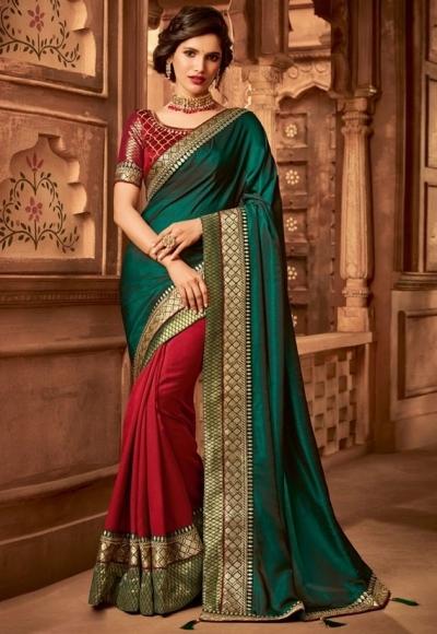scarlet red and pine green designer silk saree 2310