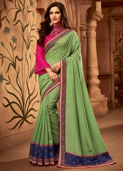 mint green designer silk saree 2309