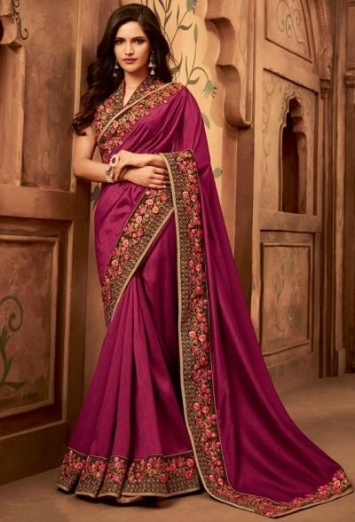 wine designer silk saree 2308