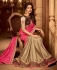 beige and rani pink designer silk saree 2307