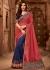 navy blue and carrot red designer silk saree 2304