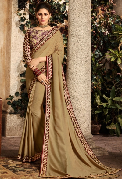 khaki brown saree with embroidered blouse 6166