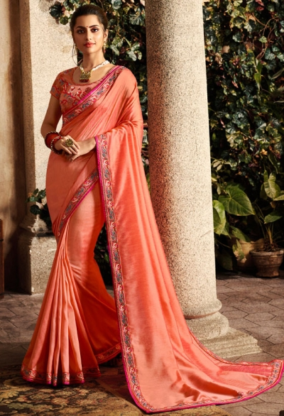 peach saree with embroidered blouse 6165