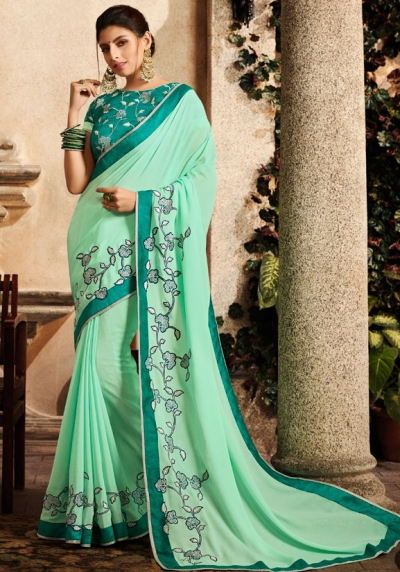 mint green saree with embroidered blouse 6164