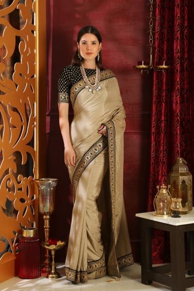 Beige and black silk party wear saree