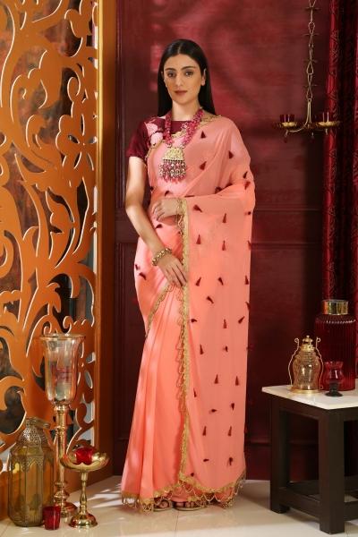 Pink and maroon georgette tassel party work Saree