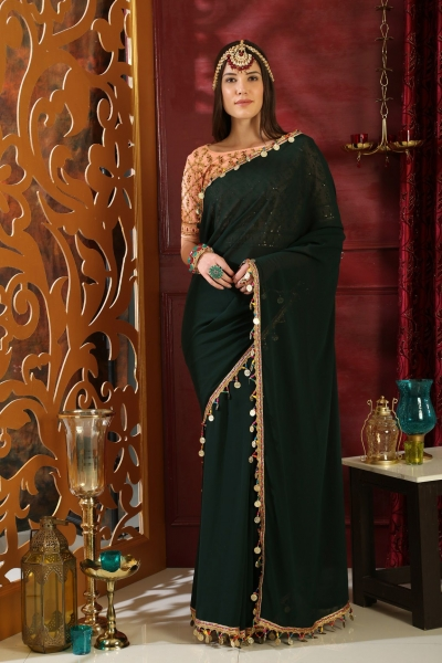Dark green and peach pure georgette party wear saree