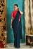 Teal blue and deep pink tassel work georgette party wear Saree
