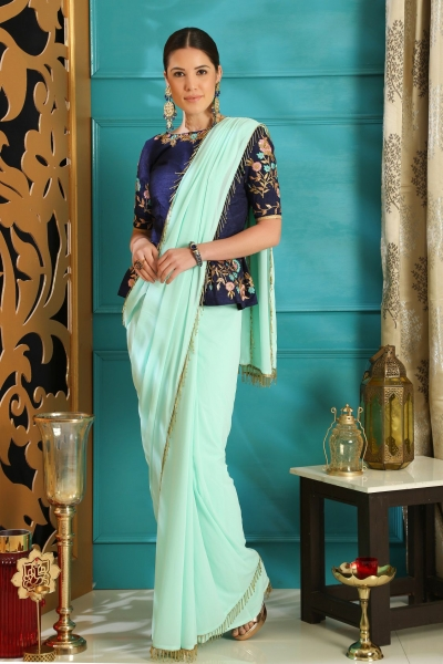 Turquoise color Pure georgette party wear saree