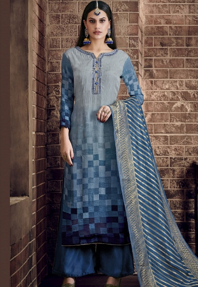 blue pure viscose silk digital printed palazzo suit 898
