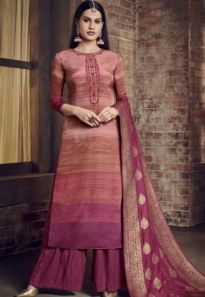pink pure viscose silk digital printed crush palazzo suit 897