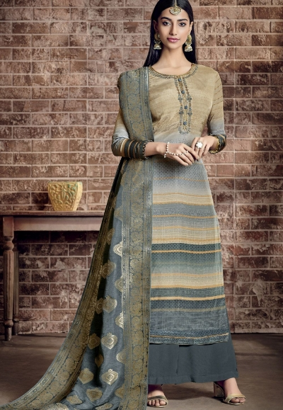 multi color viscose silk printed palazzo suit 892