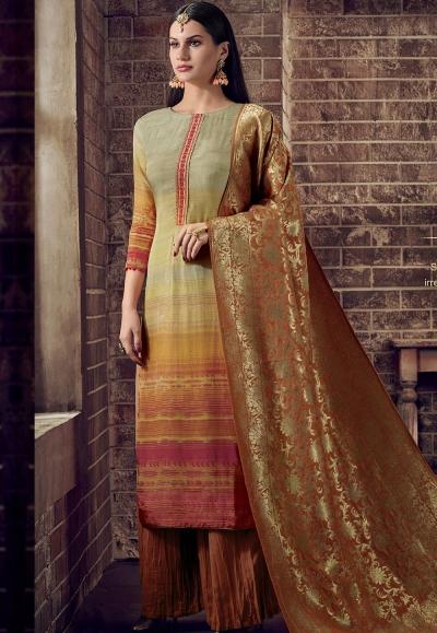 multi color viscose silk digital printed crush palazzo suit 891