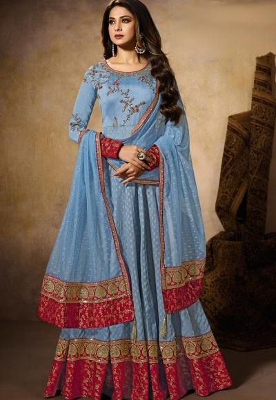 jennifer winget blue art silk embroidered floor length anarkali suit 11029