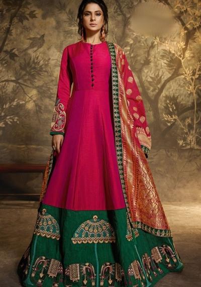 jennifer winget pink two tone silk floor length anarkali suit 11028