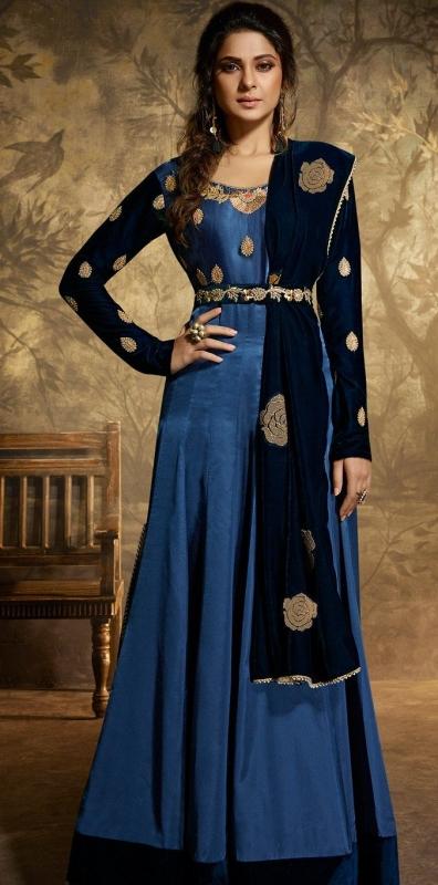 jennifer winget royal blue satin silk floor length anarkali suit 11026