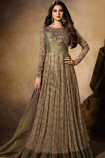 jennifer winget green silk embroidered floor length anarkali suit 11025
