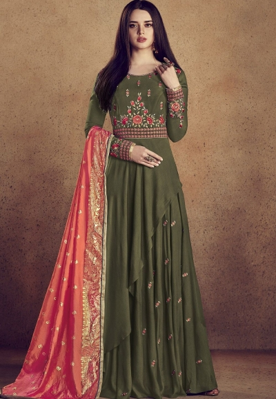 mehendi green rayon ready made anarkali gown style suit 5009e