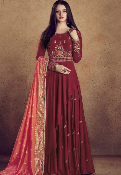 maroon rayon ready made anarkali gown style suit 5009c
