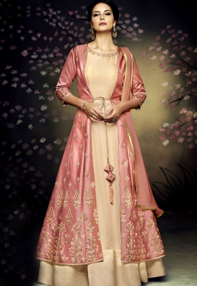 beige net and satin silk jacket style gown anarkali suit 3077