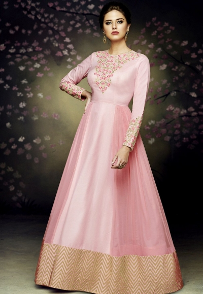pink satin silk gown style anarkali suit 3075