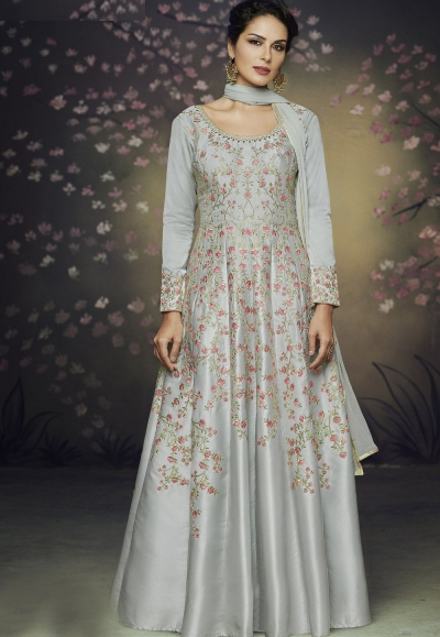 grey satin silk gown style embroidered anarkali suit 3074