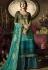 green blue satin georgette digital printed sharara style pakistani suit 11044