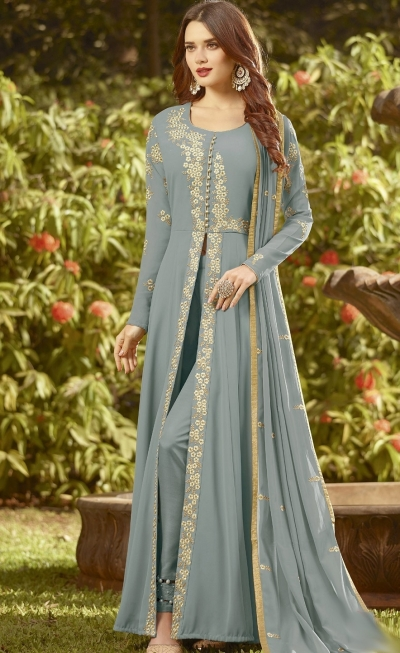 blue soft georgette long embroidered trouser style suit 20019