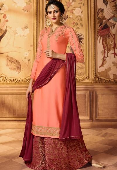 peach embroidered satin georgette sharara style pakistani suit 15606